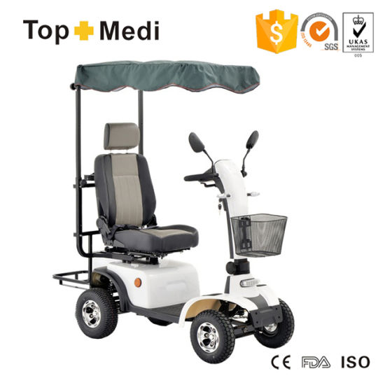 Topmedi Sporty Electric Power Mobility Scooter with Golf Bag Holder and Awning