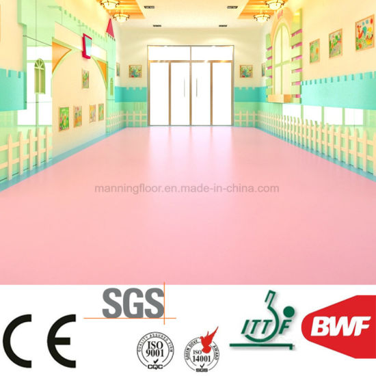 Non Toxic Soft Kindergarten Pvc Vinyl Floor 3mm Solid Color