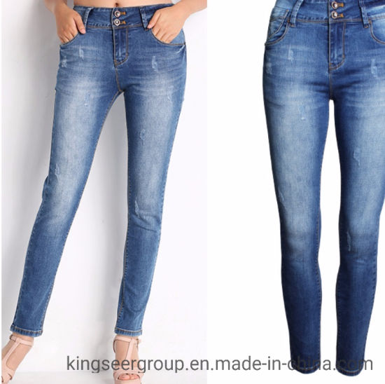 Fashioned Women/Lady's Casual Decor Lines Multi Pockets with Holes Straight Denim Jeans