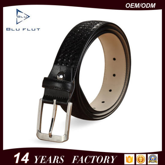 Fashion Leisure Pin Buckle Pure Embossed Leather Waist Belt