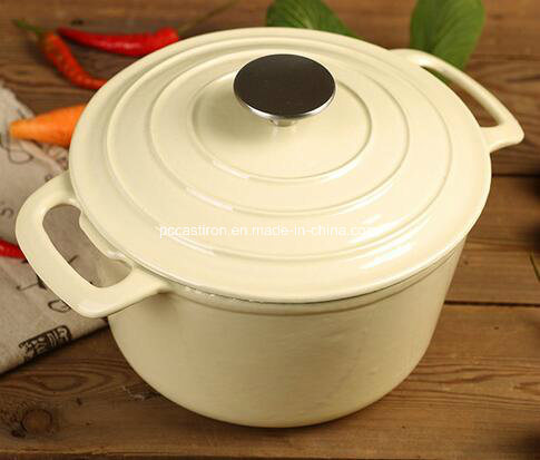 26cm 5.5L Enamel Cast Iron Casserole Stock Pot with Stainless Steel Knob pictures & photos