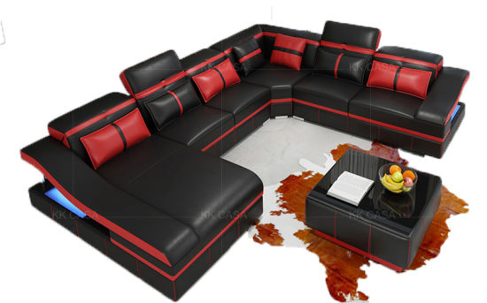China Modern Contemporary Sectional Corner Leather Living Room