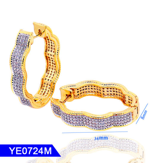 100fd5322 New Model Fashion Jewelry 925 Sterling Silver or Brass 18K Gold Plated Big  Hoop CZ Earrings