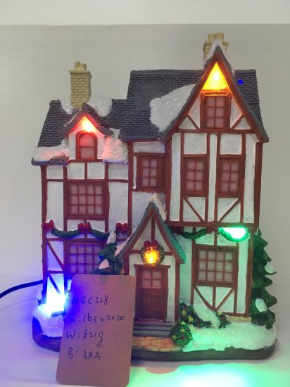 factory price lighted resin christmas village houses with music