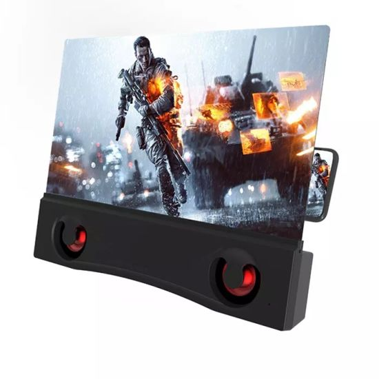 New Design F12 Portable 12 Inch Dual Speakers Phone Screen Magnifier, Loud Strengthening Cell 6D Phone Screen Amplifier