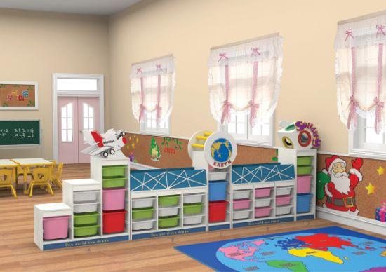 Preschool Furniture Kids Wooden Toy Storage Cabinet Nursery