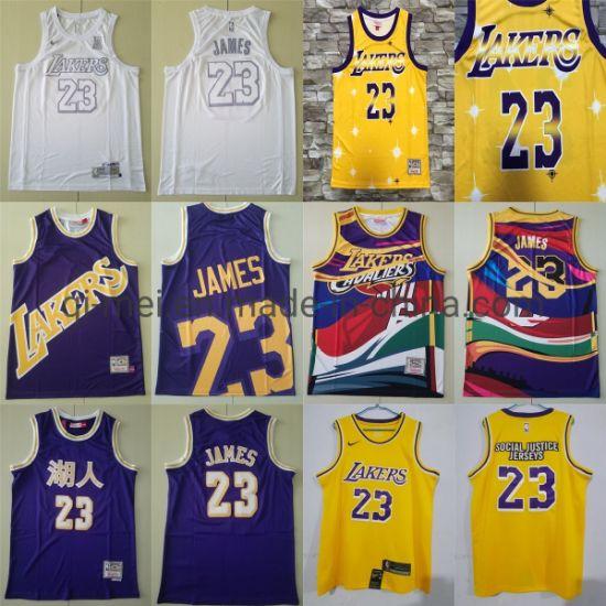 2020 Newest Lakers 23 L-Ebron James Purple Yellow White Basketball Jerseys