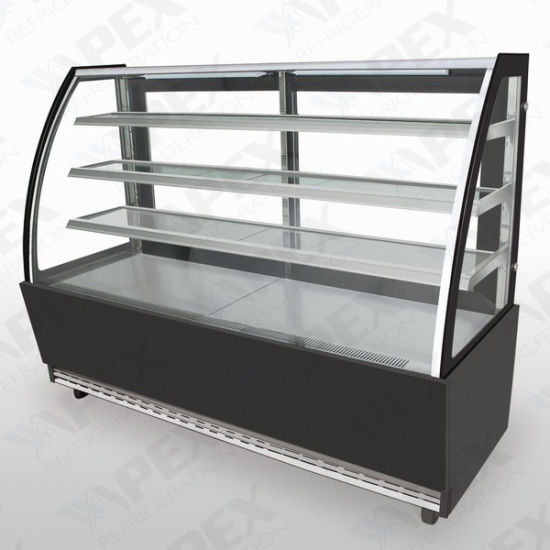 Curve Glass Door Display Showcase Cooler for Cake Stock pictures & photos