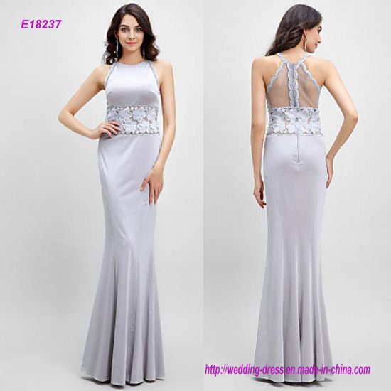 China Mermaid Jewel Floor-Length Jersey with Lace Evening Dress ...