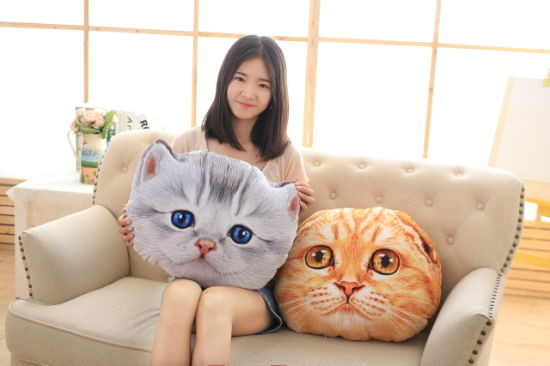 Home Pillow Cushion Bolster Plush Cat Toy with Catnip 50cm-Grey