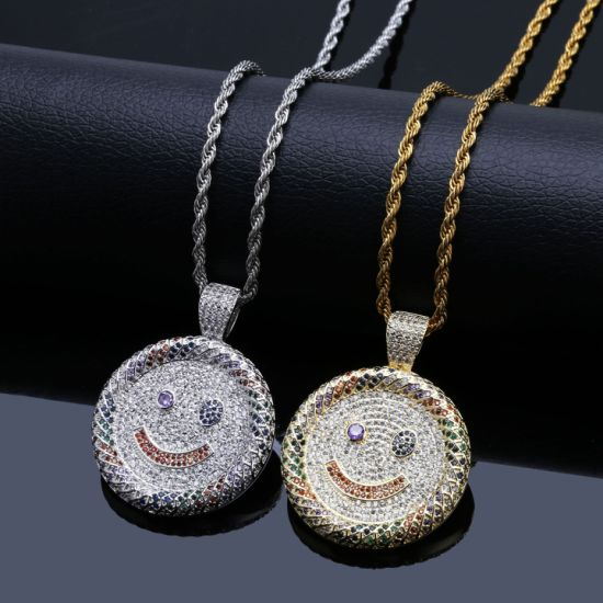 Bling Bling Hip Hop Gold Smalling Face Jewelry Pendant Necklace pictures & photos