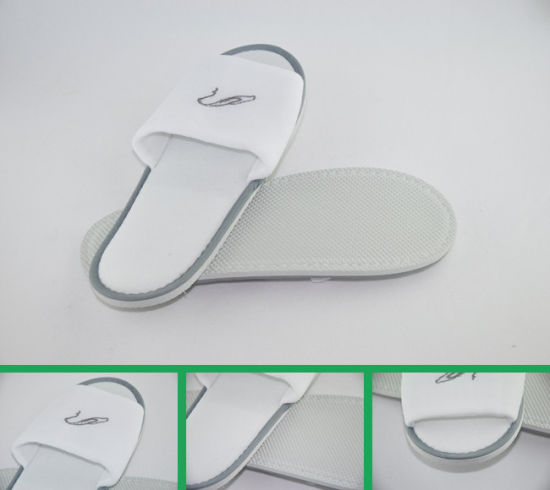Open Toe Terry Towel Slippers for Hotel