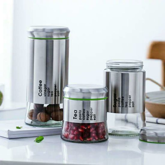 3PCS Glass Jar with Stainless Stain Set with Lid for Food Storage pictures & photos