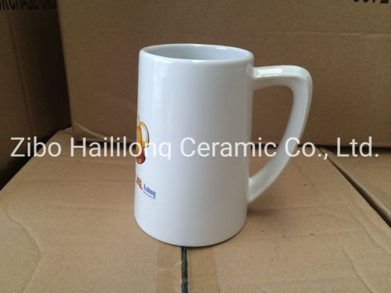 White Ceramic 20oz Beer Mug Beer Cup with Logo
