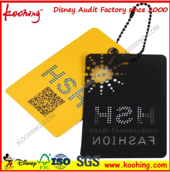Paper PVC PP PE Hang Tag for Garment China Supplier