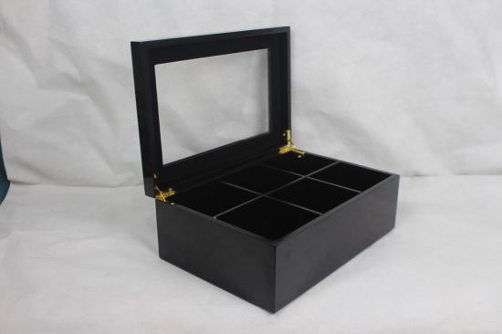Piano Finish Superior Black Luxury 6 Compartments Tea Bags Display Box with Window