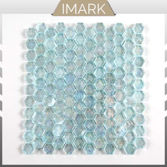 China Glass Mosaic Tile Hexagon, Aqua Glass Tile Bathrooms