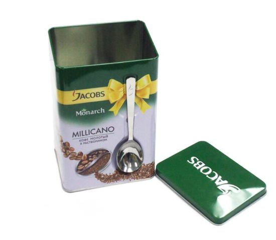 High Quality Packaging Coffee Metal Tin Box with Spoon pictures & photos