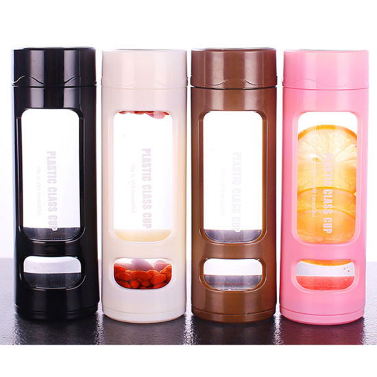 Hot Selling 2019 Clear Glass Water Bottles Glass Water Shaker Bottle with Stainless Steel Tea Infuser