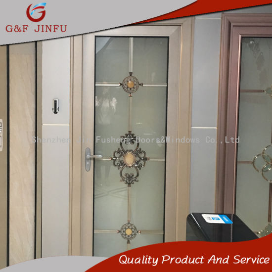 Powder Coated Aluminium Profile Double Glass Casement Door For Bathroom