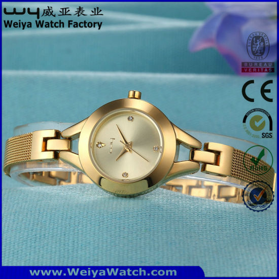 Fashion Stainless Steel Quartz Ladies Casual Wristwatch (Wy-010E)