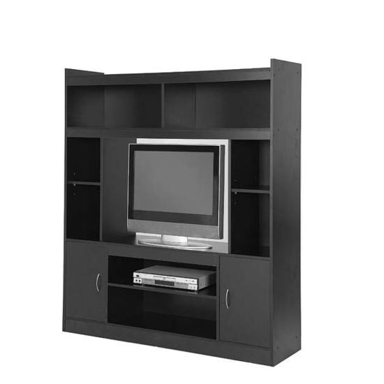 Black Wooden Mdf Particle Board Modern Large Tv Stand With Legs Showcase