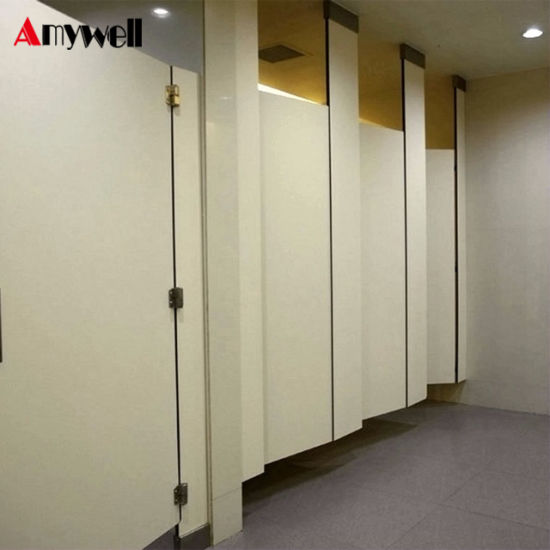 China Amywell Fireproof Phenolic Paper Laminated Sheet Shopping Mall New Bathroom Partition Manufacturers Exterior