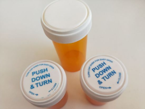 Plastic Yellow Medicine Bottle Pill Pharmacal Reversible Vials