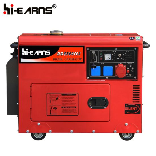 China 6kw Red Color Home Use Silent Diesel Generator Dg8500se