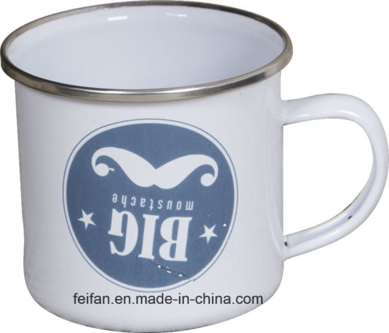 Logo Printing Stainless Steel Rim Enamel Metal Mug Coffee Cup pictures & photos