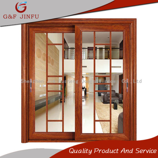 Great American Style Double Glazing Aluminum Sliding Panel Door With Grills Design