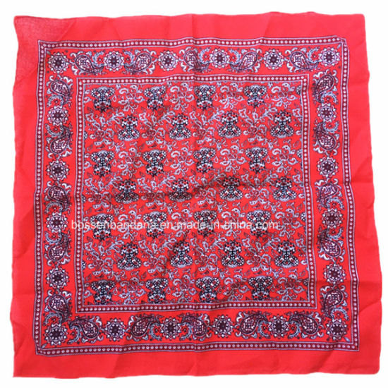 China Factory Produce Customized Logo Print Red Paisley Cotton Square Scarf pictures & photos