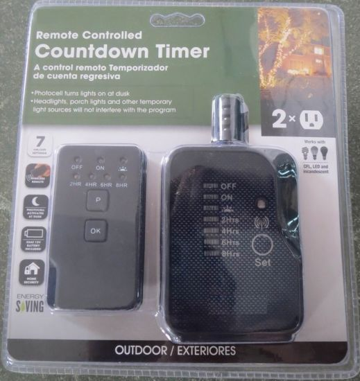 2-Outlet Black Outdoor Countdown Timer with 6 Inch Cord, Remote Control (ETL Approval)