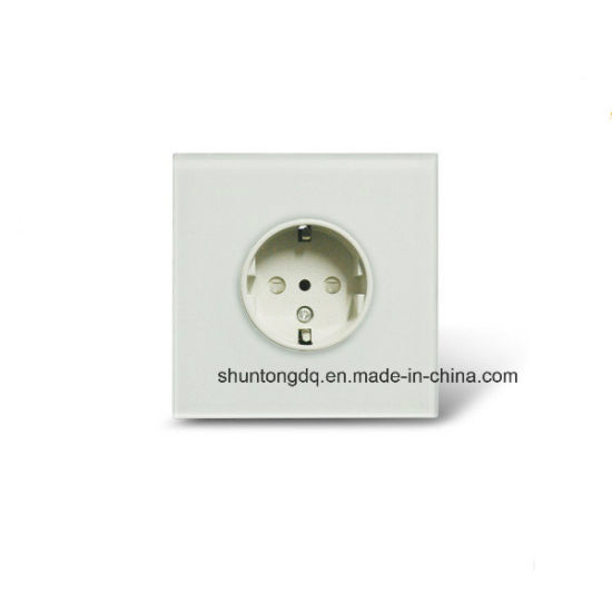 EU Standard Power Socket, White Crystal Glass Panel, AC110~250V 16A Wall Power Socket, Plug Wall Socket pictures & photos