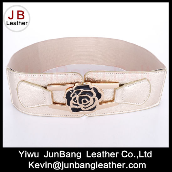 Women Elastic PU Suitable Ladies Belts with Ross Flower Buckle