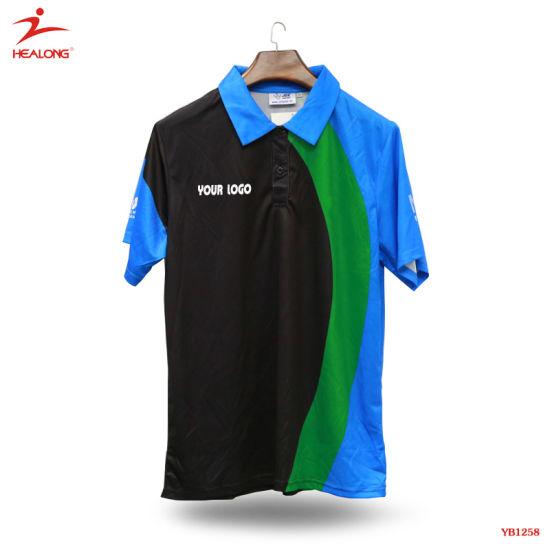 Healong Customized Sportswear Sublimation Printing Men Polo T-Shirt