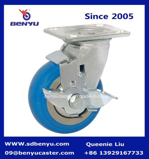 Heavy Duty Caster Wheels in Blue with Side Brake