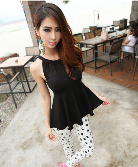 China High Quality New Style Chiffon Ladies Tops Images Woman