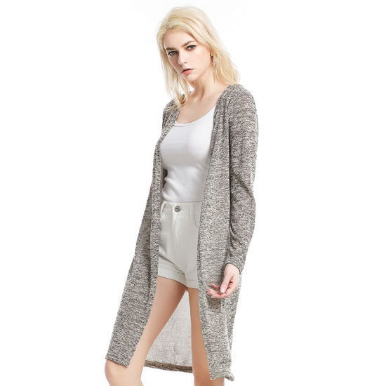 bb3bbb913 2018 New Design Thick Spring Cardigan Sweater for Women Long Fashion Grey  Color Wholesale