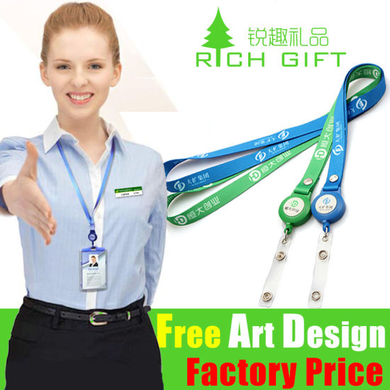 ID Badge Holder Nylon Printing Neck Lanyard with Badge Reel
