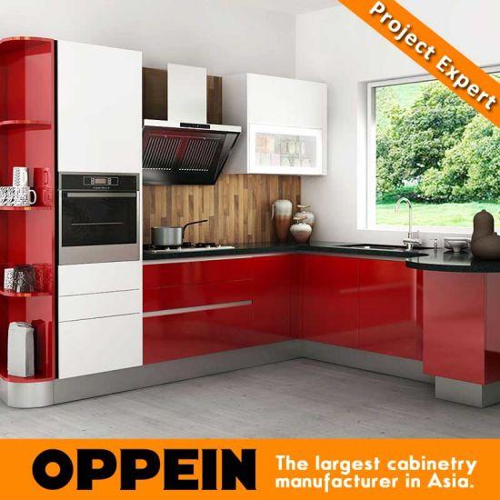 China Kenya Modern Red Lacquer Wooden Modular Wholesale Kitchen