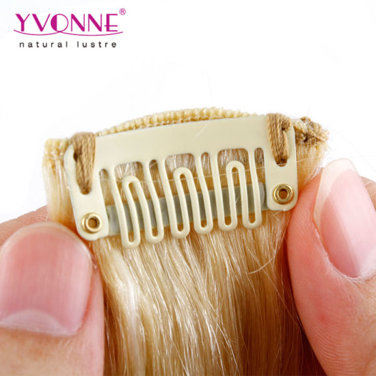 Clip in Human Hair Extension Blond Brazilian Hair pictures & photos