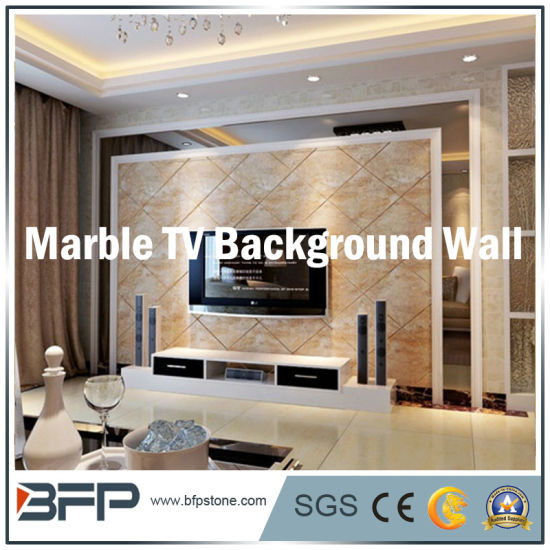 China Natural Polished White Granite/Marble Stone TV Background Wall ...