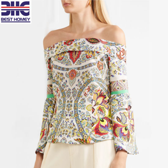 off The Shoulder Designs Long Sleeve Printed Fashion Ladies Silk Blouse for Womens