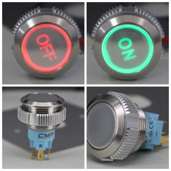 China Metal Dual Color Illuminated On Off Push Button Switch With
