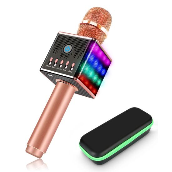 Handheld USB LED Lights Wireless Karaoke Microphone Stereo Support TF Card