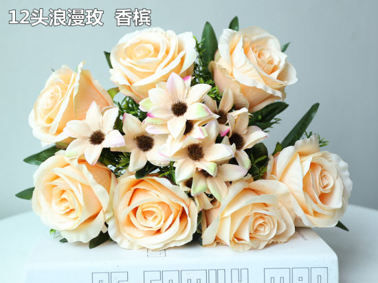 12 Heads Artificial Rose Fake Silk Flower Bouquet Home Wedding Party Decor