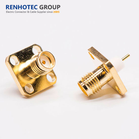 SMA Coaxial Connector Female Straight Square Flange for Panel Mount