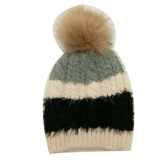 c35b7c50 Lady Winter Warm Fashion Knitting Feather Color Block Cable Hat Cap with  Faux Fur Pompom