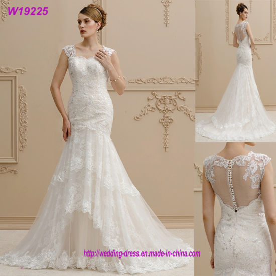 Mermaid Trumpet Straps Court Train Lace Sequin Appliques Tulle Wedding Dress